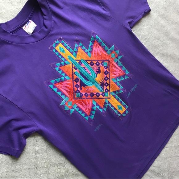 Vintage Tops - VTG 90s Southwest Cactus Las Vegas Graphic T-Shirt
